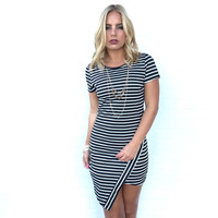 Cherise Stripe Asymmetrical Dress In Black