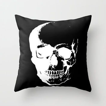 Forensic Skull Throw Pillow - Black and White