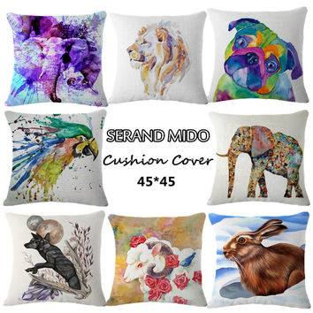 Home Decorative Cats Bird Coussin Cover Square Animal Printed Vintage Cushion Covers For Sectional Sofa Conjines Pilow 45*45cm