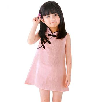 Kids Dresses for Girls Dress Vintage Solid Color Sleeveless Princess Dress Clothes 2-7 Year