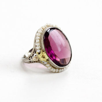 Antique Art Deco 10k White, Yellow, Rose Gold Simulated Amethyst, Seed Pearl Ring - Vintage 1920s Size 5 Filigree Purple Glass Fine Jewelry