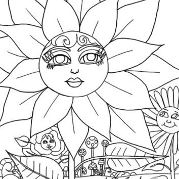 flower Magical garden coloring page, coloring book page, adult coloring pages nature fantasy color book outline art