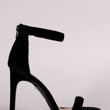 Shoe Republic LA Velvet Open Toe Ankle Strap Stiletto Heel