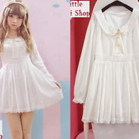 Kawaii Sweet Gothic Lolita Pretty Girls Long Sleeve Lace Dress Onepiece White