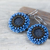 Round Blue Earrings - Black Lava Beads with Beadwoven Bezel in Vivid Blue and Bronze Brown