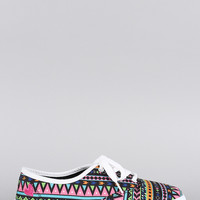 Qupid Tribal Round Toe Lace Up Sneaker