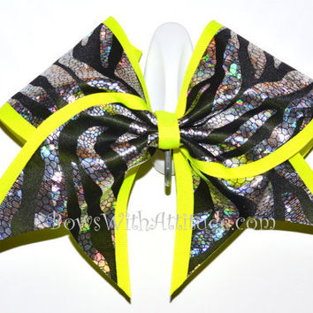 "3"" Wide Luxury Cheer Bow - Metallic Zebra w/Electric Yellow Trim"