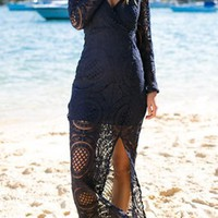 Navy Blue Patchwork Lace Hollow-out Side Slit Maxi Dress
