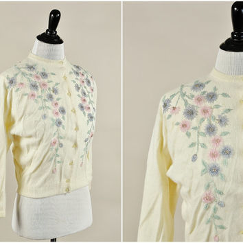 Sloane cardigan // 50s ivory angora floral beaded pinup girl sweater // pink & blue beads // 38 bust