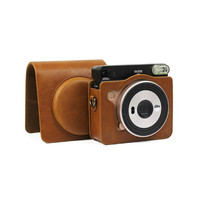 Fujifilm Instax Square SQ6 Camera Bag Brown Leather Protection Case with Strap