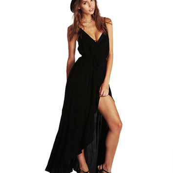 V-neck Spaghetti Strap Swallow Tail Shirtwaist Maxi Dress with Slit