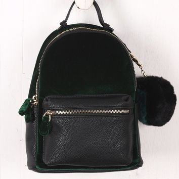 Colorblock Velvet Mini Backpack
