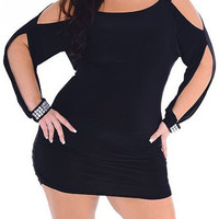 Black Rhinestoned Plus Size Long Sleeve Dress