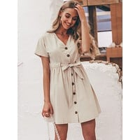 Simplee Button Front Tie Waist Tea Dress