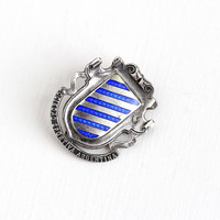 Antique Edwardian Sterling Silver Blue Guilloche Enamel Sociedad Sportiva Argentina Pin - Vintage Dated 1910 HC Hemming Co Shield Jewelry