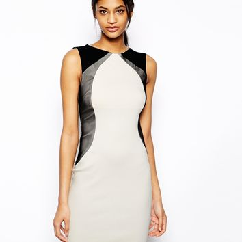 Vesper Sexy Pencil Dress with Contour Mesh Detail