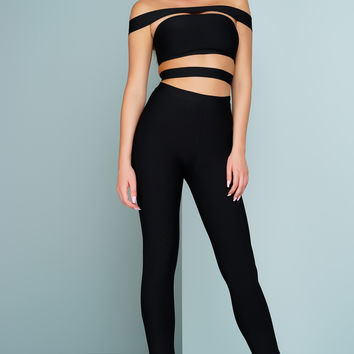London Off The Shoulder Bandage Jumpsuit - Black