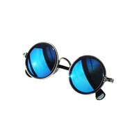 BLUE REFLECTION ROUND SUNGLASSES