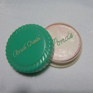 30s Art Deco Celluloid Compact Pond's 'Cheeks' Powder Rouge Small Turquoise Vintage Vanity Makeup Case Collectible Powder Blush Pot Cosmetic
