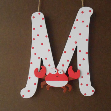 Painted Letter - Initial - Crab - Hand Painted Letter - Wall Decor - Door Decoration -  Beach House Decor