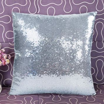 Silk Stain Sequins Pillow Cover Silver Pillow Case 40*40cm Square Soft Pillowcase Pillow Cover Living Room Bedroom EZLIFE GF214