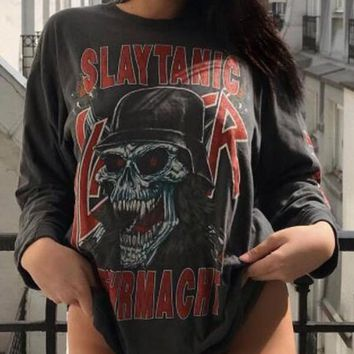 "New Black Red Monogram ""SLAYTANIC"" Devil Skull Print Long Sleeve Trendy T-Shirt"