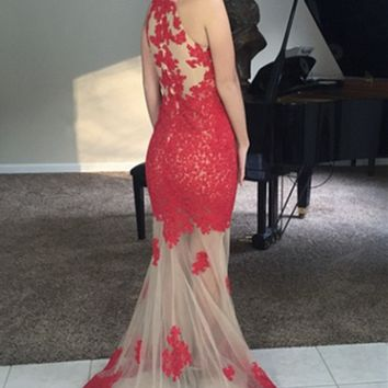Elegant Long Red Prom Dresses with Lace