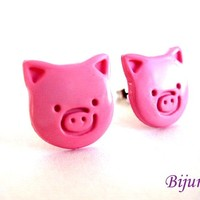 Pig earrings - Pink pig stud earrings - Pig studs - Pig post earrings - Pig posts - Pink pig earrings sp268