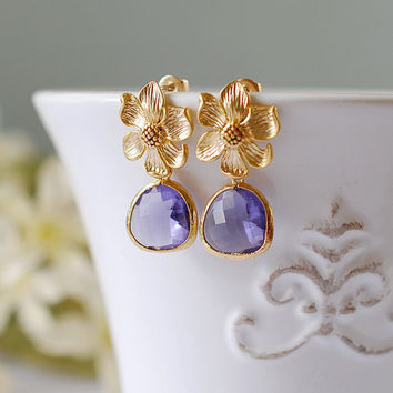 Gold Flower Purple Glass Drop Post Earrings, Flower Earrings, Amethyst Purple Drop Earrings, Purple Wedding Bridal Jewelry, Bridesmaid  Gift