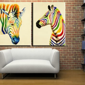 2016 Promotion 2 Pcsthe Color Of The Zebra Painting Canvas Wall Art Picture Home Decoration Living Room Print Painting--large