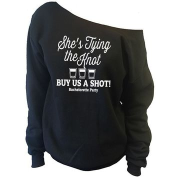 She's Tying The Knot, Buy Us A Shot! Off-The-Shoulder Oversized Slouchy Sweatshirt
