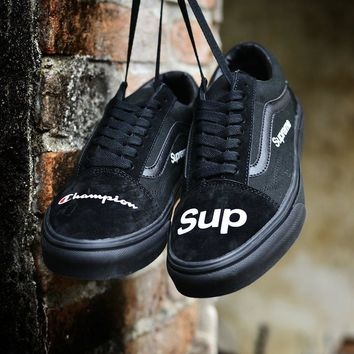 Champion X supreme X Vans Old Skool Woman Men Canvas Flats Sport Shoes