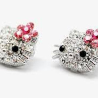 Hello Kitty Rhinstone Pink Bow Earrings
