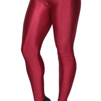 BadAssLeggings Women's Shiny Candy Neon Leggings XL Burgandy