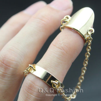 Polish Gold False Nail Double Chain Harness Midi Finger Tip Ring Fancy Dress