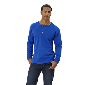 Adult Long Sleeve Henley Brushed Jersey Classic Fit - Free