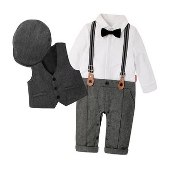 New Arrival 2018 Top Quality, Cotton Gentleman Spring Fashion Rompers + Vest + Hat. Sizes 3 To 24 Months
