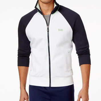 Hguo Boss Green Men's Full-Zip Colorblocked Knit Jacket