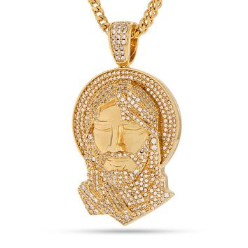 The 14K Gold Halo Jesus Necklace