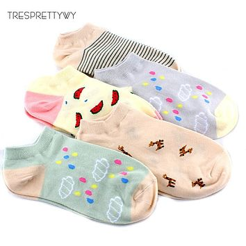 TRESPRETTYWY Autumn Women Cute Cartoon Watermelon Raindrops Squirrels Pattern Ankle Socks Female Fashion Invisible Cotton Socks