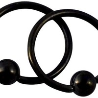 "Pair of 2 Rings: 16G 8 mm (5/16"" Inch) 316L Black Titanium Steel IP Plated Captive Bead Hoop Barbell CBR Rings, 3 mm Balls"