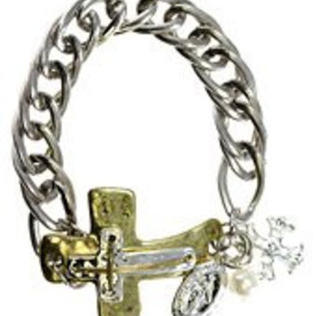 Womens Jewelry, Gold Tone Antique Cross, Silver Tone Metal Chain Bracelet w/ Various Accents Cross Imitiation Pearl Accent Gold Tone Antique Cross Silver Tone Metal Chain Bracelet Various Accents - Materials: Metal