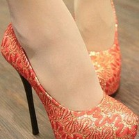 Ladies Pattern Evening Party High Heel Shoes In RED from NaomiShu