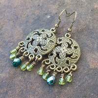 Gypsy Chandelier Earrings with Teal and Olive Green Crystal Dangles