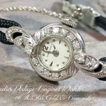Vintage Diamond 14k White Gold Longines Watch Ladies 17 Jewels Swiss Made Very Classy Gold Diamond Watch Mechanical Working All Orig Nice!