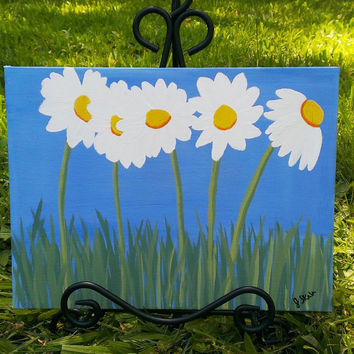 Daisy art – Wall art – Flower painting – Daisy painting – Flower décor – Wall hanging – Daisy wall art – Canvas flower painting – Daisy art