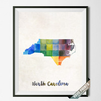 North Carolina, Map, Print, NC, Raleigh, USA, Poster, Watercolor, Painting, Home Town, Decor, Dorm Room, Art, States, Watercolour [NO 34]