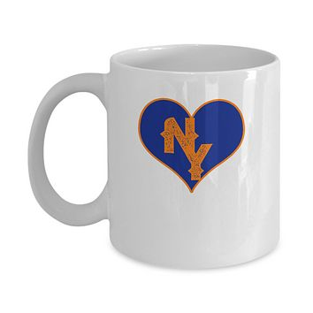 New York Baseball Colors Heart Love Coffee Mug