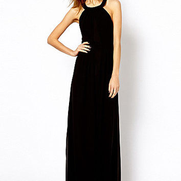 Halter Strappy Backless Chiffon Maxi Dress