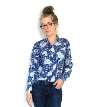 TURTLE Print 70s Blouse Button Up Blue White SHEER Long Sleeve Polka Dot Shirt Hippie Top Boho SMALL Louannes Vintage
